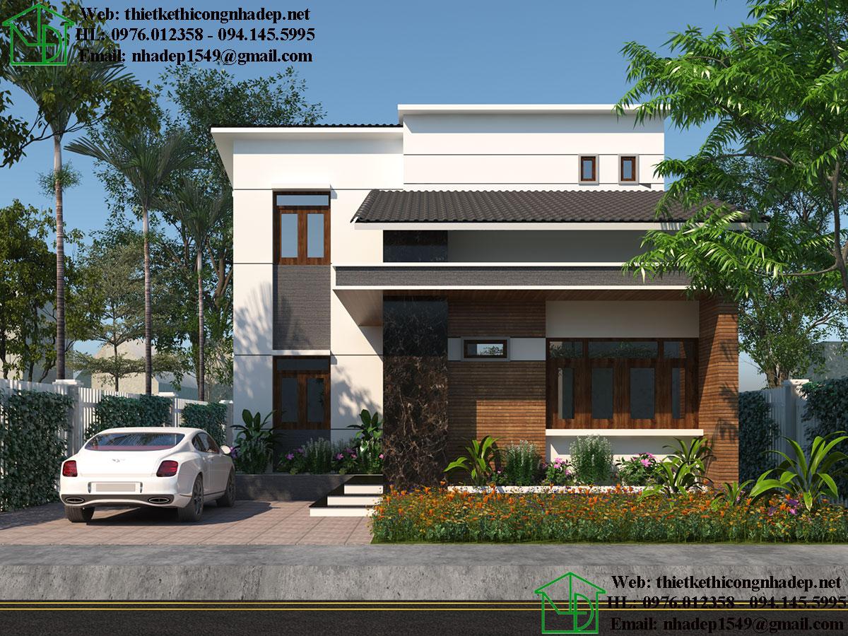 Các mẫu biệt thự 2 tầng đẹp -  Mẫu biệt thự 2 tầng mái thái 9x13m