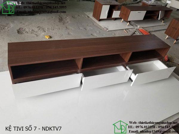 Mẫu kệ tivi bằng gỗ óc chó NDKTV7