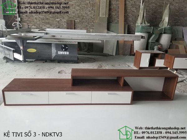 Mẫu kệ tivi gỗ óc chó đẹp NDKTV3