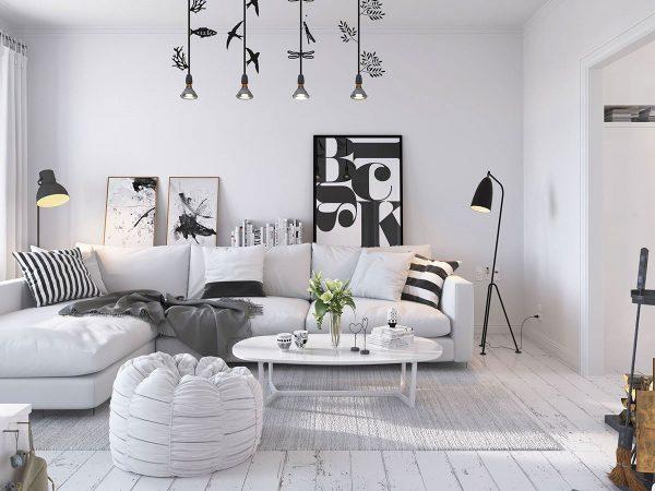 Thiết kế nội thất phòng khách chung cư phong cách Scandinavian