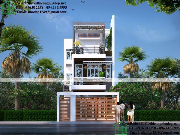 Thiết kế nhà phố hình chữ L NDNP3T22