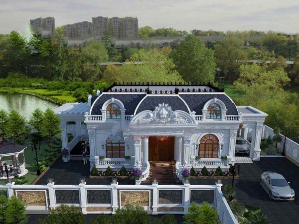 Biệt thự vườn 1 tầng rưỡi phong cách cổ điển