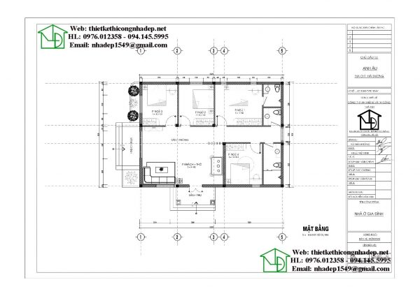 bản vẽ chi tiết Nhà cấp 4 mái thái 9x12m đẹp