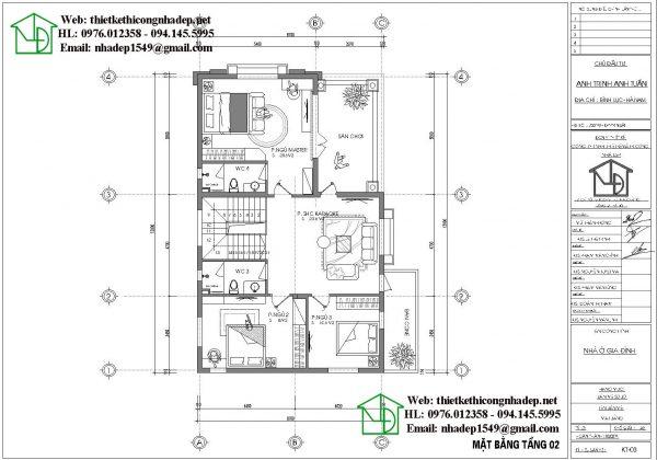 Mặt bằng bố trí nội thất tầng 2 NDBT2T63