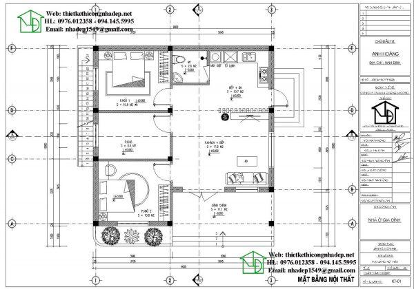Mặt bằng nội thất nhà cấp 4 300 triệu NDNC477