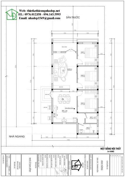 Mặt bằng nội thất nhà cấp 4 nông thôn NDNC476