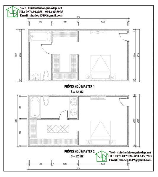 Mặt bằng nội thất phòng ngủ master