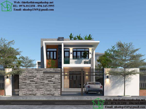 Mẫu nhà 2 tầng mặt phố 9x14m NDBT2T65