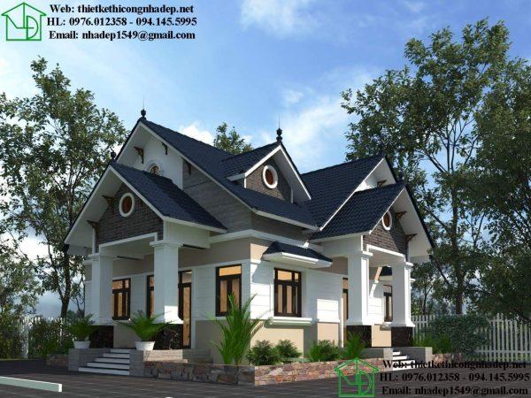 Thiết kế mẫu nhà cấp 4 mái thái có 4 phòng ngủ và 2 mặt tiền