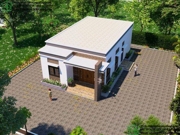 Phối cảnh tổng thể nhà cấp 4 mái bằng 3 phòng ngủ NDNC476