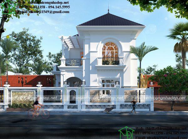Thiết kế biệt thự 2 tầng 9x14m tân cổ điển NDBT2T63