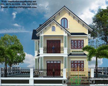Thiết kế nhà 8x16m 2 tầng NDBT2T64