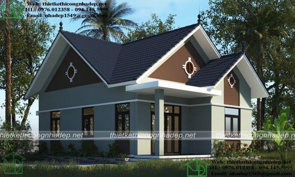 Thiết kế nhà vườn 1 tầng 8x14m NDBT1T80