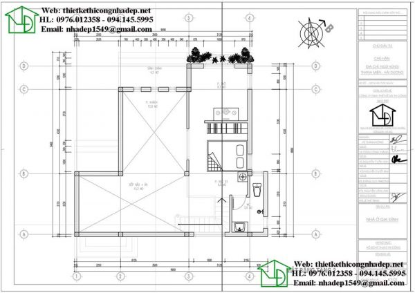 bản vẽ thiết kế nhà cấp 4 3 phòng ngủ gác lửng hiện đại