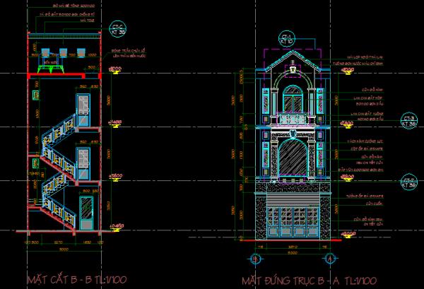 kết cấu nhà phố 3 tầng
