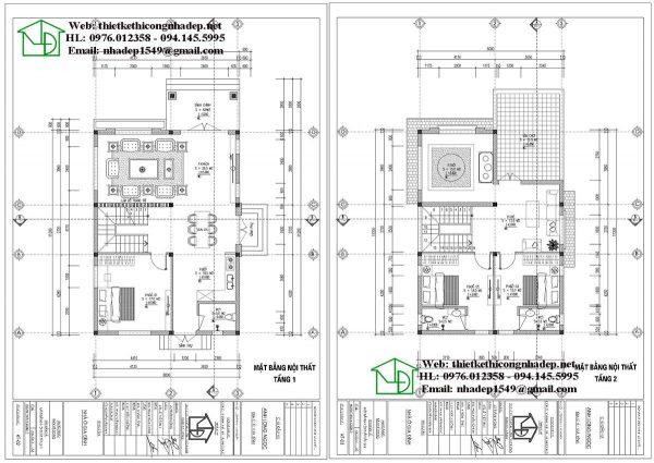 Mặt bằng bố trí nội thất biệt thự 2 tầng tân cổ điển NDBT2T66