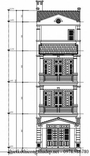 thiết kế mặt tiền nhà phố 4 tầng đơn giản