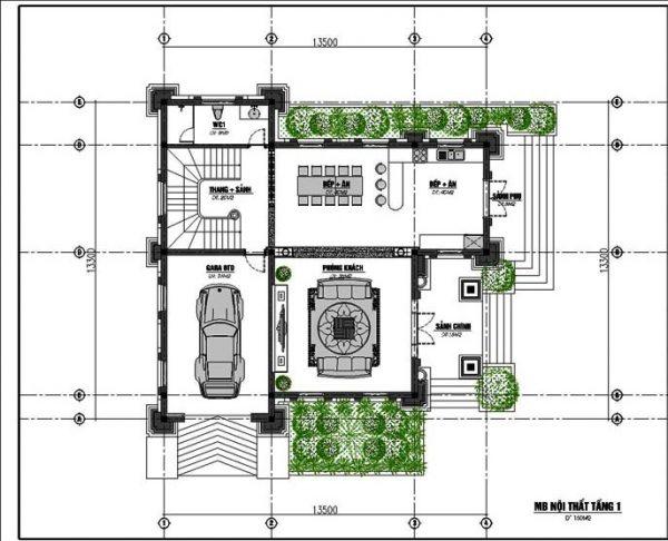 Nhà vuông phố 3 tầng