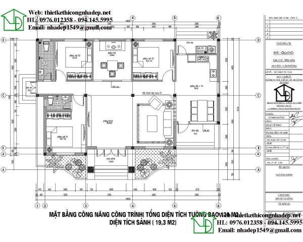 mẫu biệt thự vườn 1 tầng 9x15m2
