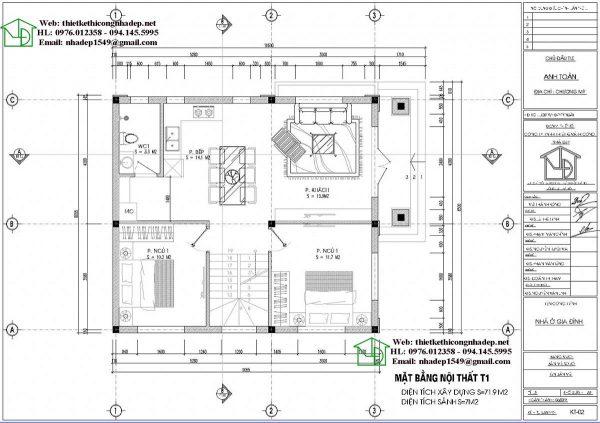 Mặt bằng bố trí nội thất tầng 1 NDBT2T69