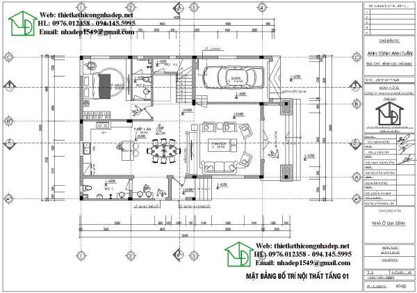 Mặt bằng bố trí nội thất tầng 1 NDBT3T16
