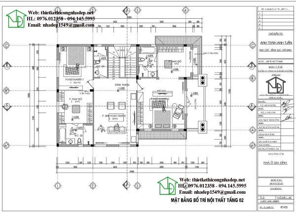 Mặt bằng bố trí nội thất tầng 2 NDBT3T16