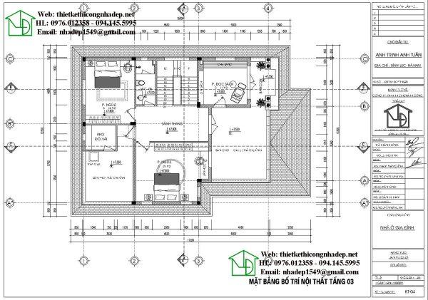 Mặt bằng bố trí nội thất tầng 3 NDBT3T16