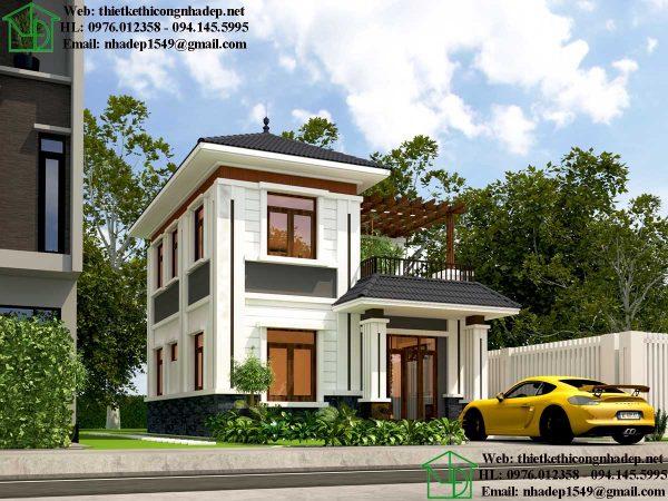 Mẫu thiết kế biệt thự 2 tầng mái thái NDBT2T69