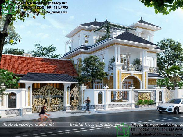 Thiết kế biệt thự 3 tầng đẹp tại Hà Nam NDBT3T16