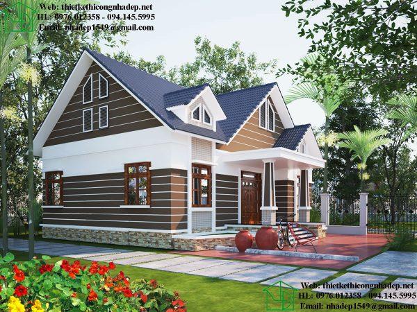 Bản thiết kế biệt thự nhà vườn 1 tầng NDBT1T89
