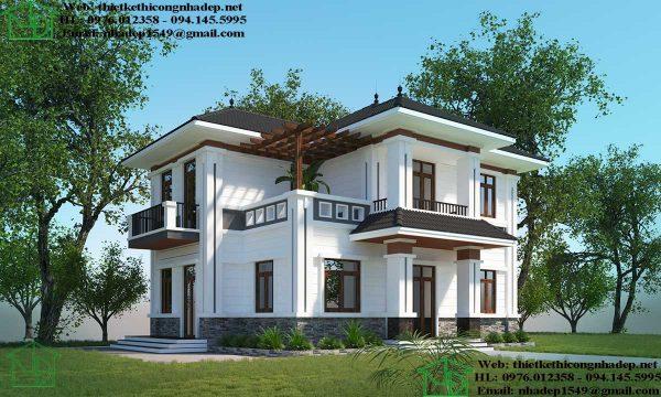 Xây biệt thự 2 tầng tại Vĩnh Phúc NDBT2T70.