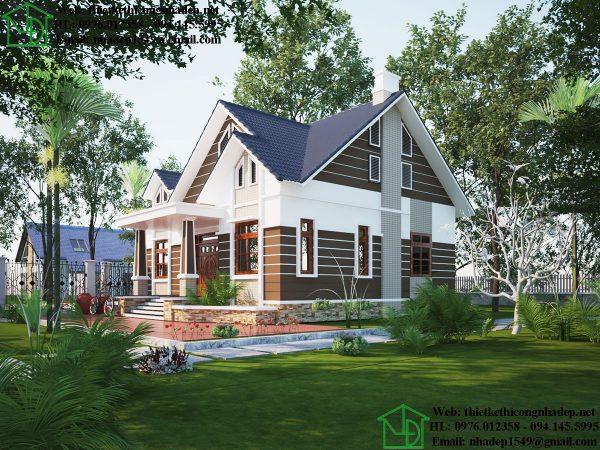 Thiết kế nhà vườn 1 tầng NDBT1T89
