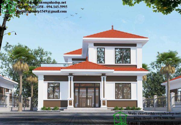Mẫu biệt thự 2 tầng 10x13m hiện đại tại Thái Nguyên NDBT2T72.