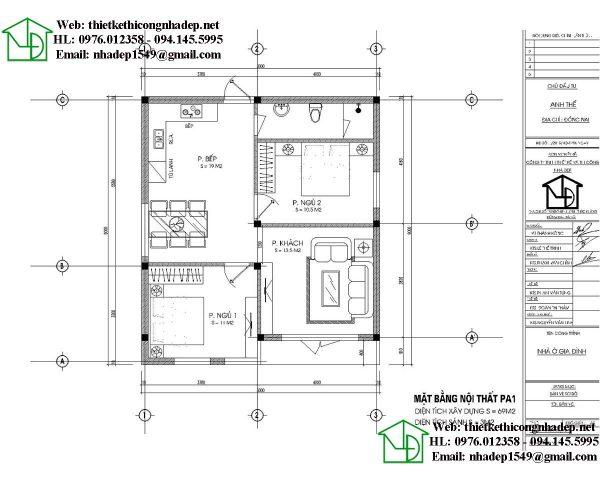 mặt bằng nội thất nhà cấp 4 mái thái 8x9m