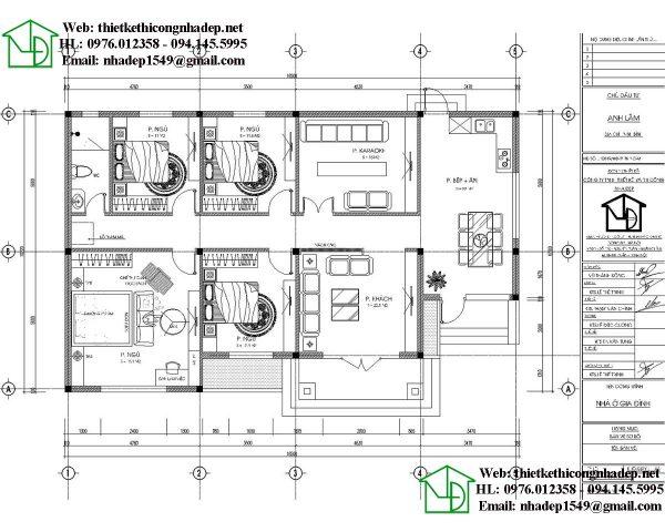 Mặt bằng nội thất biệt thự 1 tầng 10x16m