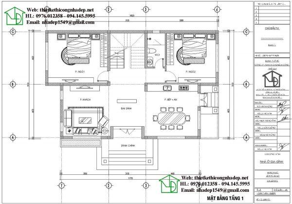 Mặt bằng tầng 1 biệt thự 2 tầng NDBT2T71