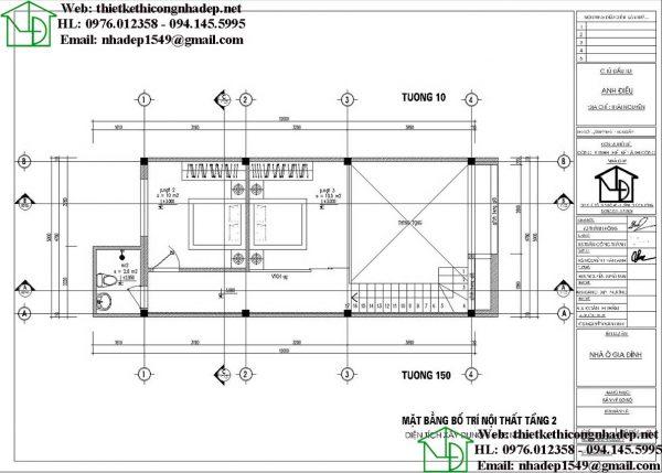 Mặt bằng mẫu nhà cấp 4 5x13m NDNC497