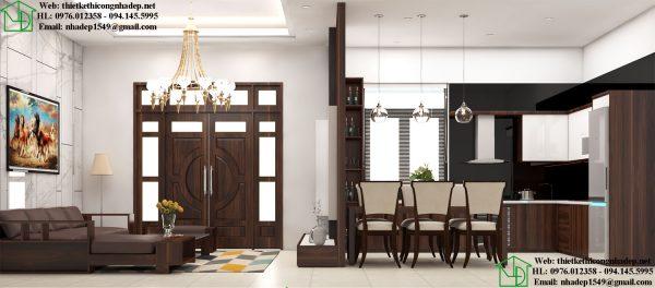 Mặt cắt phòng khách và phòng bếp đẹp NDBT1T91