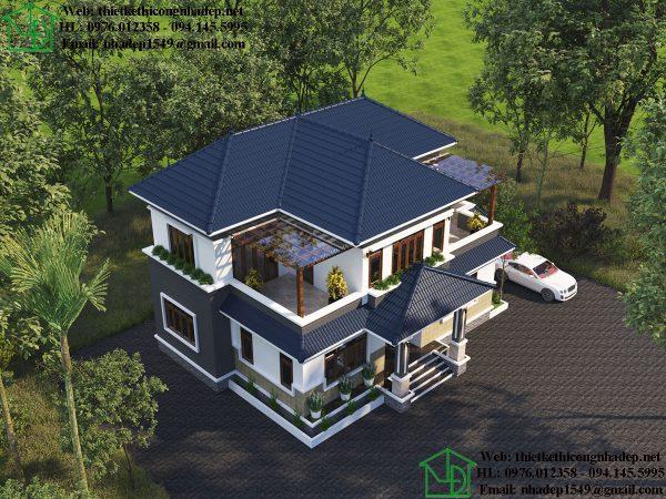 Phối cảnh tổng thể biệt thự 2 tầng mái thái NDBT2T71