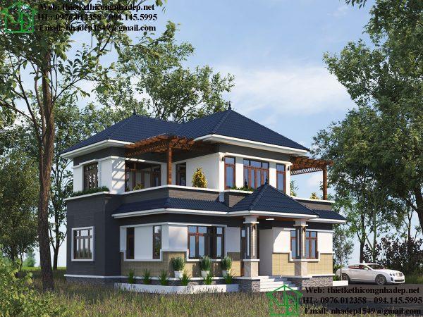 Thiết kế biệt thự 2 tầng 12x12m NDBT2T71