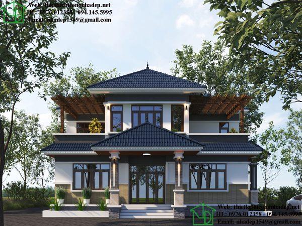 Thiết kế mặt tiền biệt thự 2 tầng mái thái NDBT2T71