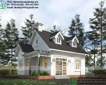 Thiết kế nhà cấp 4 mái thái đẹp NDNC498
