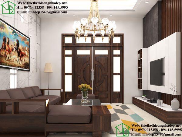 Thiết kế nội thất phòng khách biệt thự vườn NDBT1T91