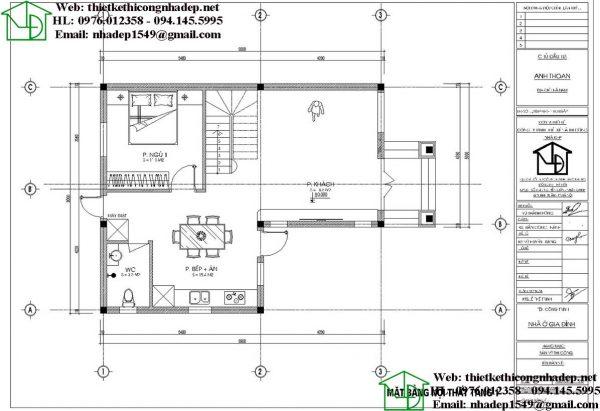 mẫu biệt thự 2 tầng 8x12m NDBT2T73