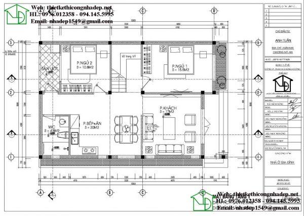 Mẫu nhà cấp 4 8x13m NDNC4106