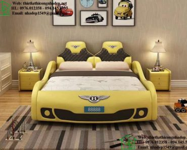 Giường ngủ ô tô bọc da màu vàng