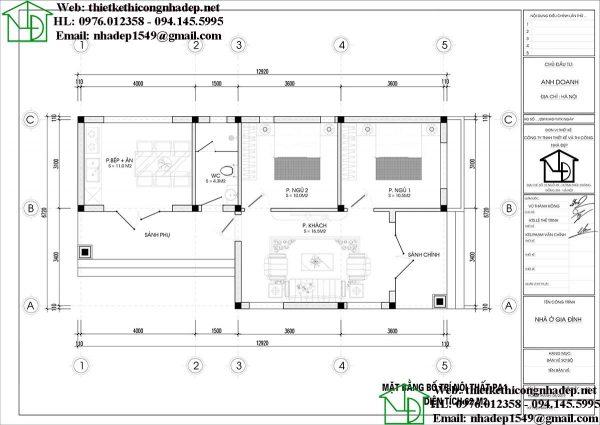 mẫu nhà cấp 4 6x13m NDNC4101