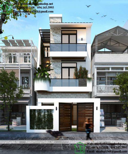 Mặt tiền nhà phố 5m 3 tầng NDNP3T47