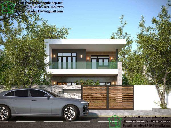 Thiết kế nhà phố 2 tầng hiện đại NDNP2T10