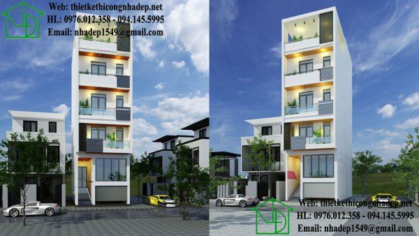 Nhà phố mặt tiền 5m 5 tầng đẹp tại Thái Bình.